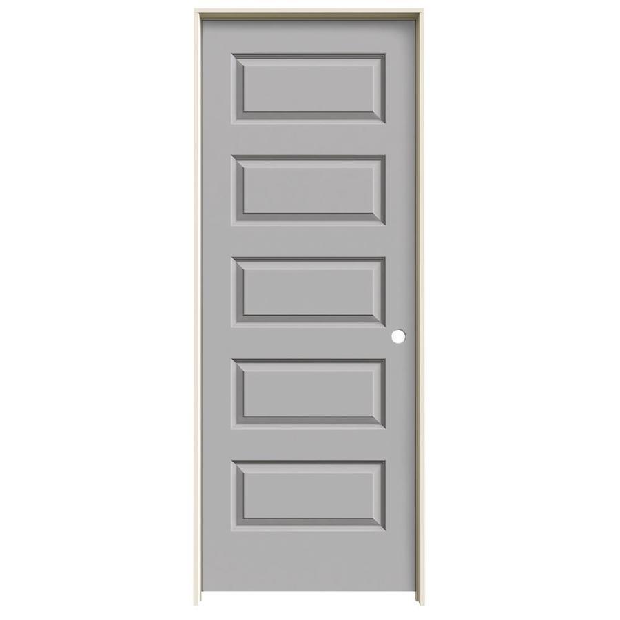 JELD-WEN Rockport Driftwood Prehung Solid Core 5-Panel Equal Interior Door (Common: 24-in x 80-in; Actual: 25.562-in x 81.688-in)