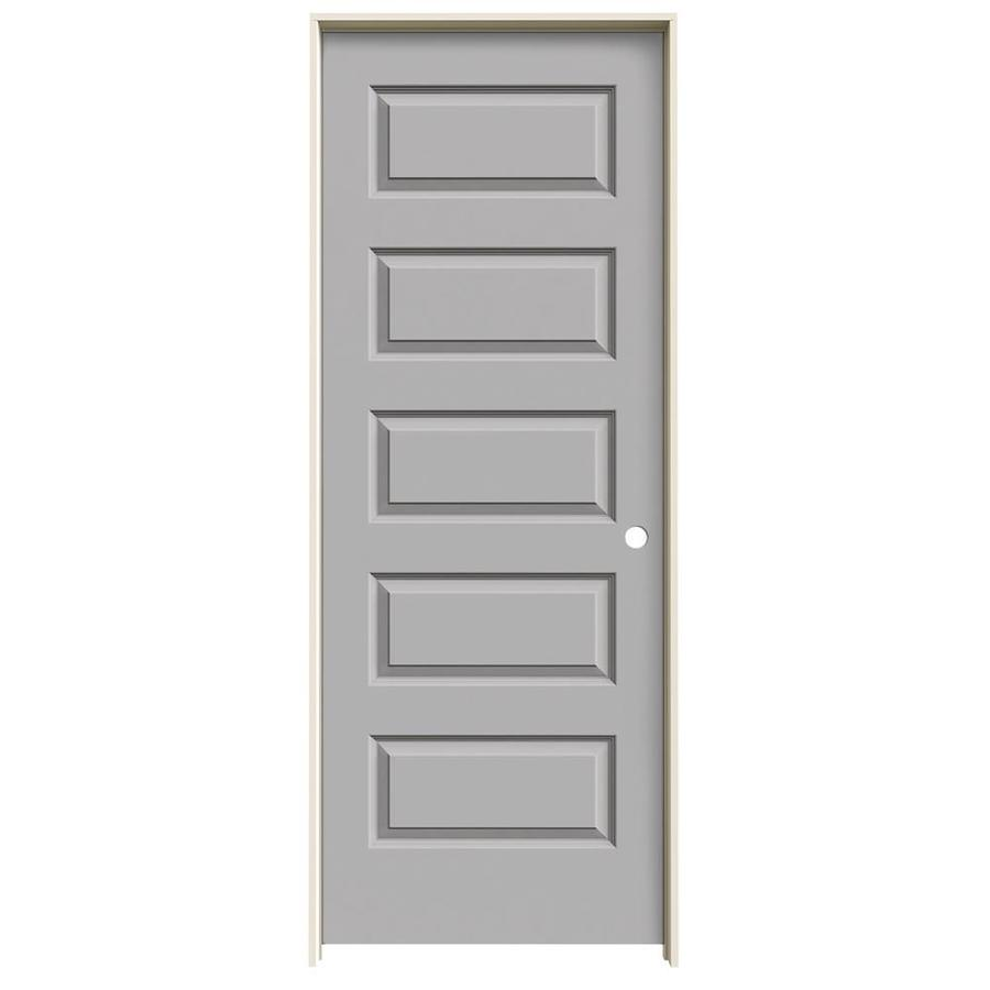 JELD-WEN Rockport Driftwood 5-panel Equal Single Prehung Interior Door (Common: 28-in x 80-in; Actual: 29.562-in x 81.688-in)