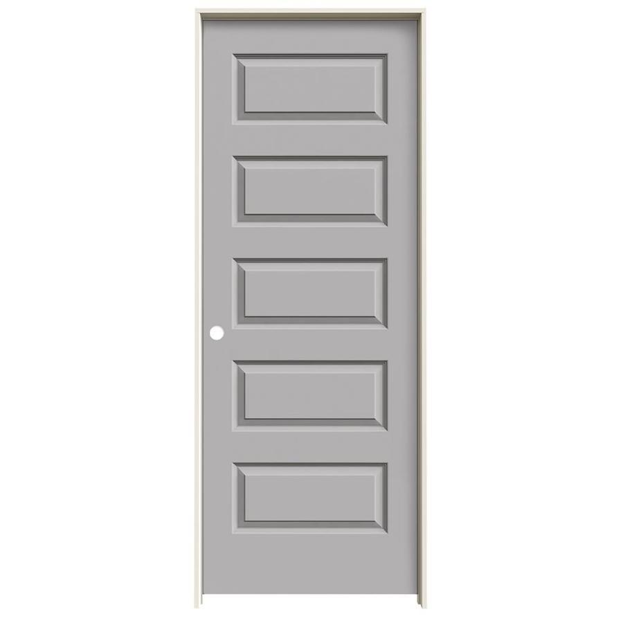 JELD-WEN Driftwood Prehung Solid Core 5-Panel Equal Interior Door (Common: 30-in x 80-in; Actual: 31.562-in x 81.688-in)