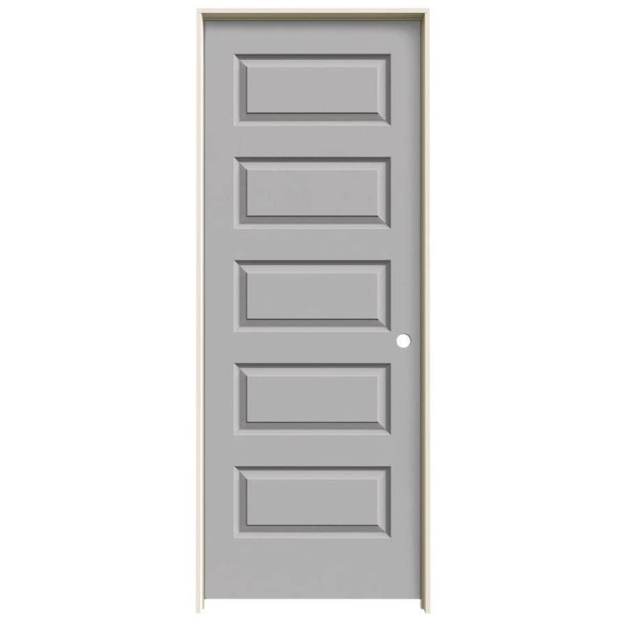 JELD-WEN Rockport Driftwood 5-panel Equal Single Prehung Interior Door (Common: 32-in x 80-in; Actual: 33.562-in x 81.688-in)