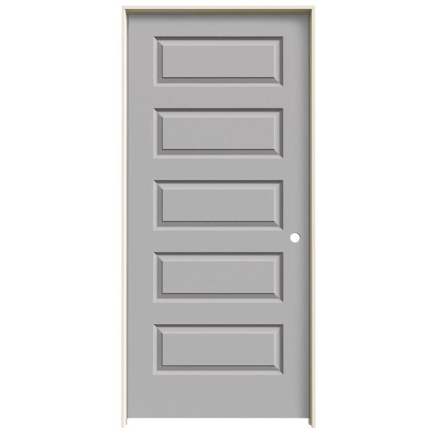 JELD-WEN Rockport Driftwood Prehung Solid Core 5-Panel Equal Interior Door (Common: 36-in x 80-in; Actual: 37.562-in x 81.688-in)