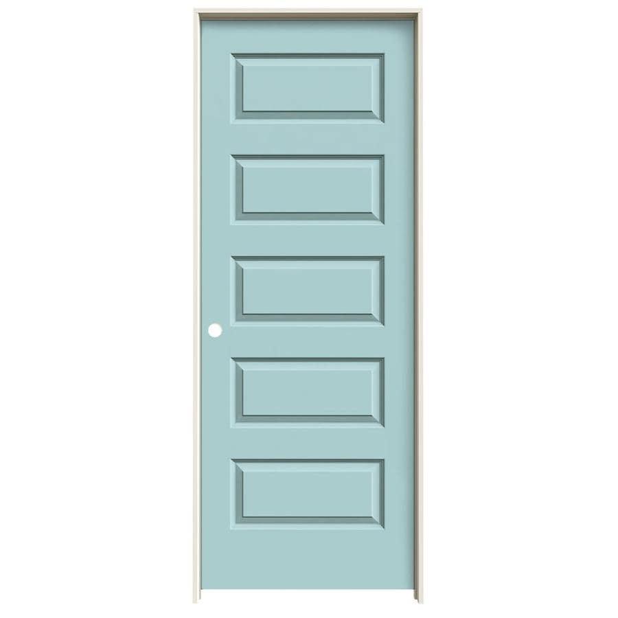 JELD-WEN Rockport Sea Mist 5-panel Equal Single Prehung Interior Door (Common: 28-in x 80-in; Actual: 29.562-in x 81.688-in)