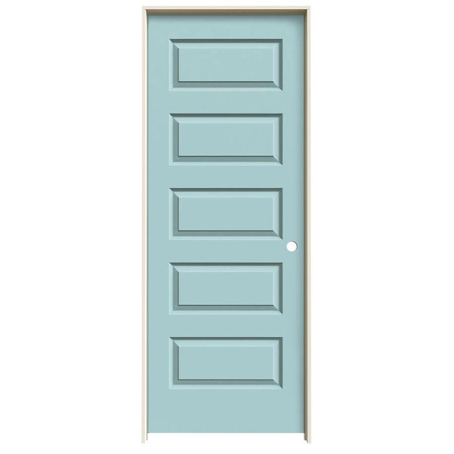 JELD-WEN Sea Mist Prehung Solid Core 5-Panel Equal Interior Door (Common: 32-in x 80-in; Actual: 33.562-in x 81.688-in)