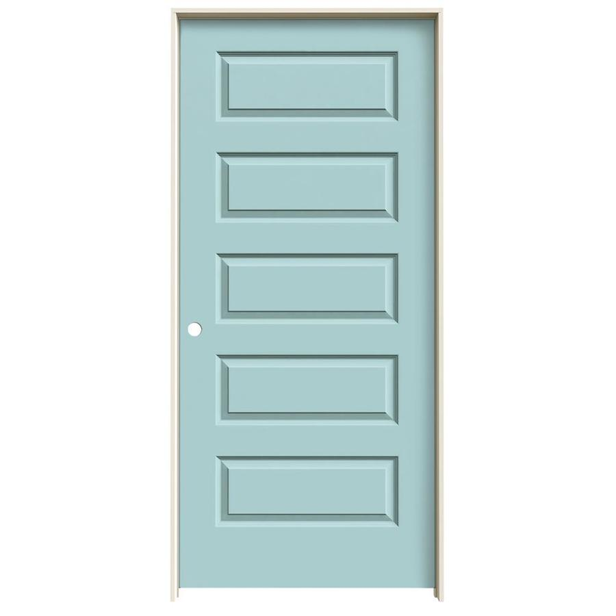 JELD-WEN Rockport Sea Mist Prehung Solid Core 5-Panel Equal Interior Door (Common: 36-in x 80-in; Actual: 37.562-in x 81.688-in)