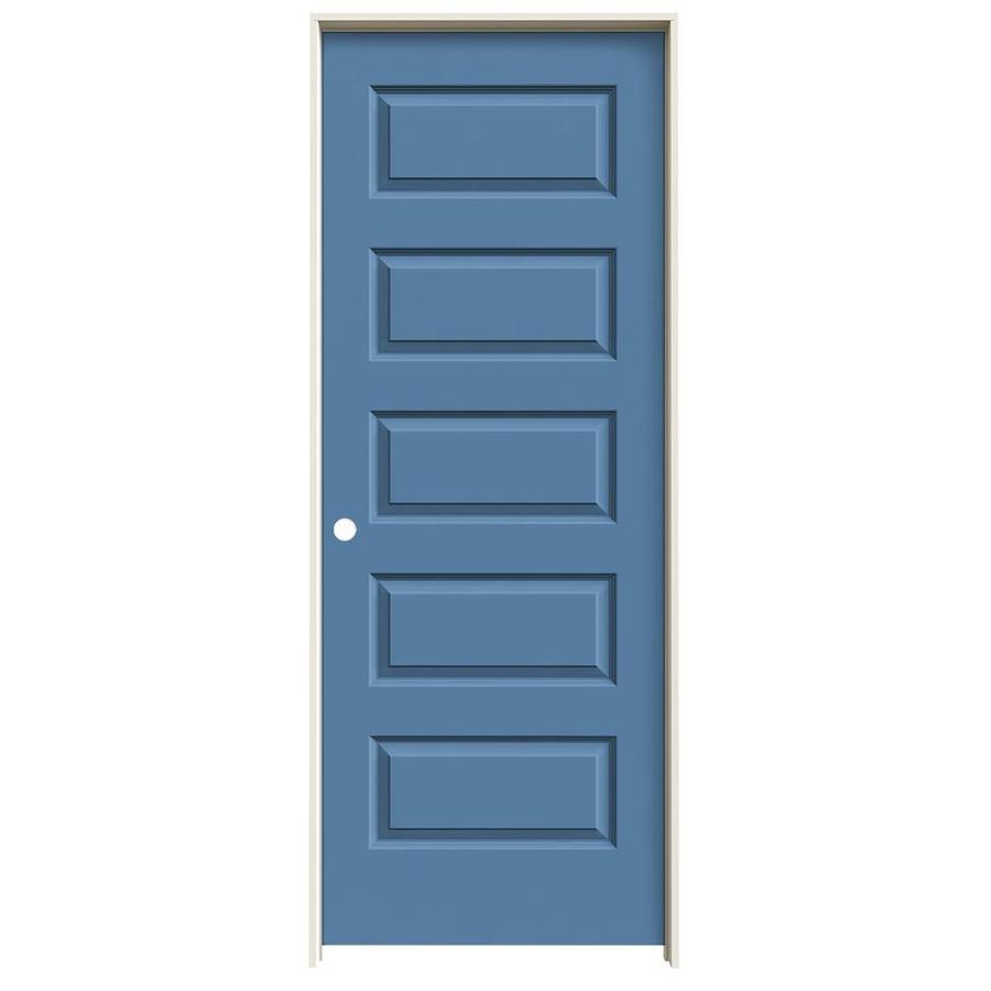 JELD-WEN Rockport Blue Heron 5-panel Equal Single Prehung Interior Door (Common: 24-in x 80-in; Actual: 25.562-in x 81.688-in)