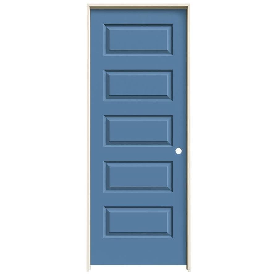 JELD-WEN Rockport Blue Heron Prehung Solid Core 5-Panel Equal Interior Door (Common: 28-in x 80-in; Actual: 29.562-in x 81.688-in)