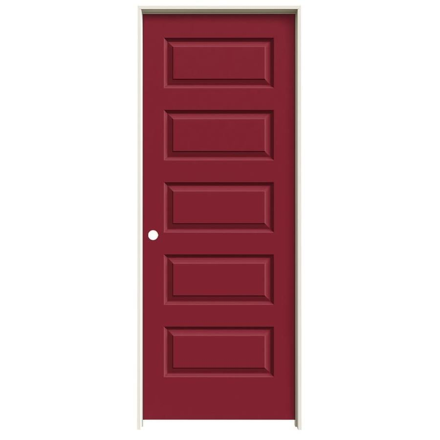 JELD-WEN Rockport Barn Red Prehung Solid Core 5-Panel Equal Interior Door (Common: 24-in x 80-in; Actual: 25.562-in x 81.688-in)