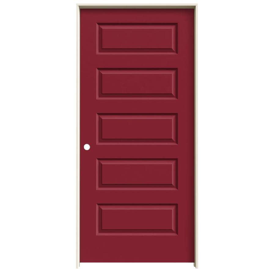 JELD-WEN Rockport Barn Red Prehung Solid Core 5-Panel Equal Interior Door (Common: 36-in x 80-in; Actual: 37.562-in x 81.688-in)