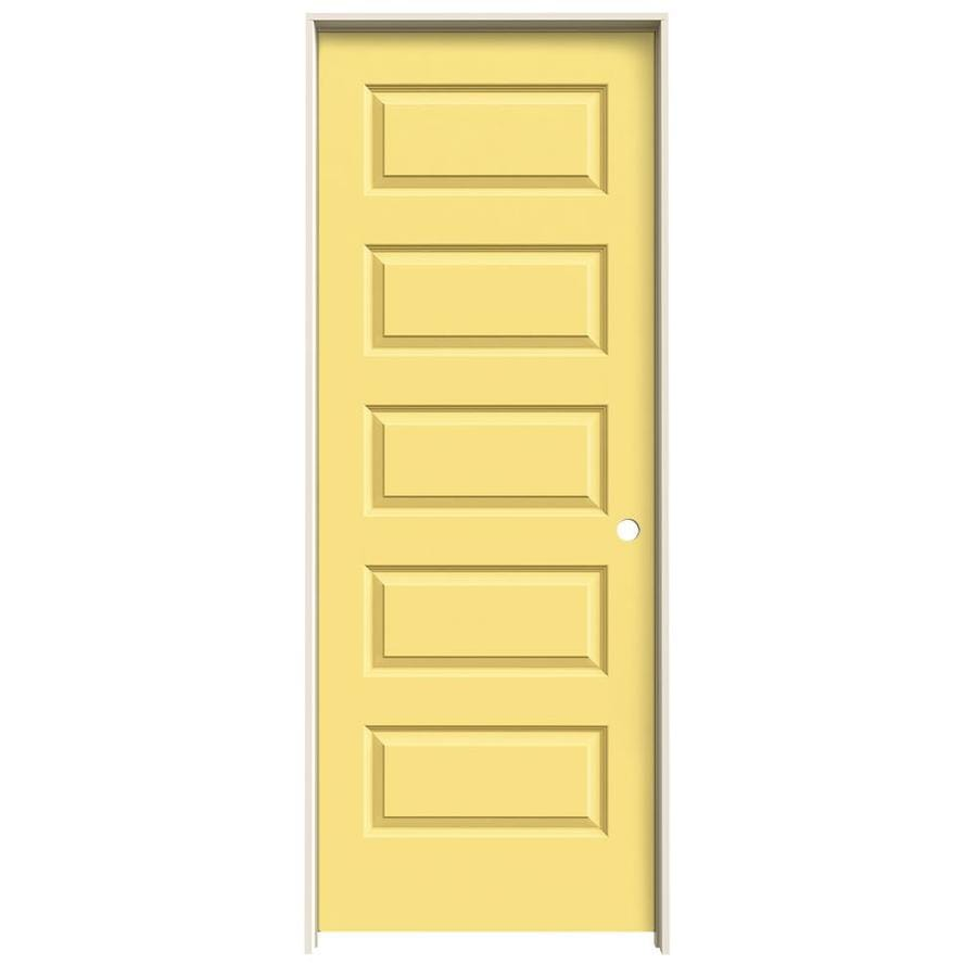 JELD-WEN Marigold Prehung Solid Core 5-Panel Equal Interior Door (Common: 28-in x 80-in; Actual: 29.562-in x 81.688-in)
