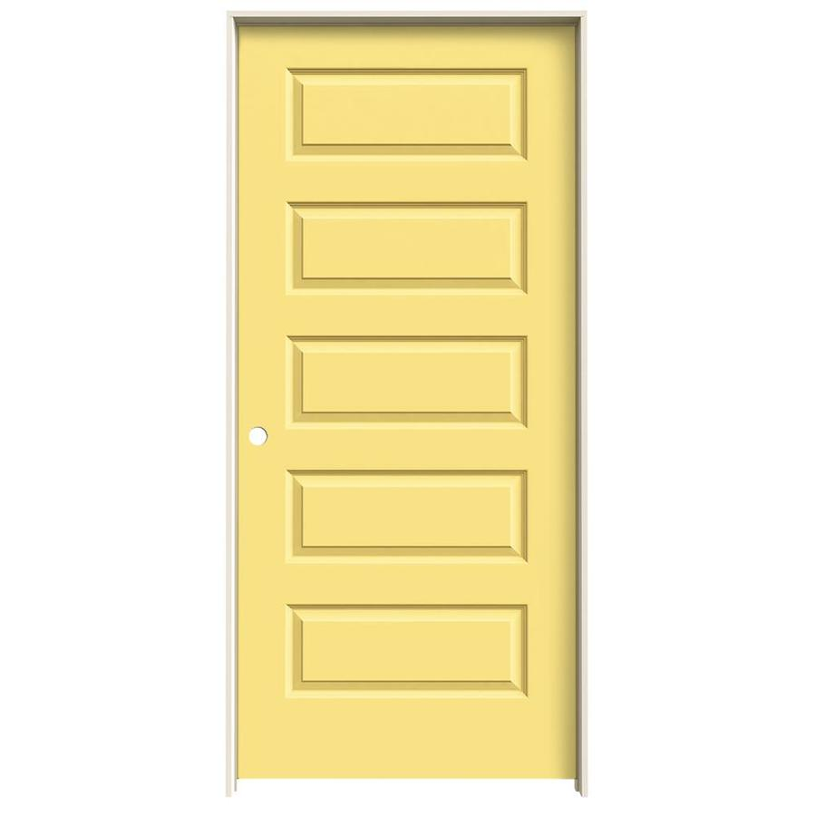 JELD-WEN Marigold Prehung Solid Core 5-Panel Equal Interior Door (Common: 36-in x 80-in; Actual: 37.562-in x 81.688-in)