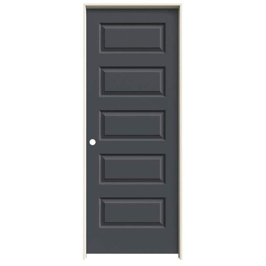 JELD-WEN Rockport Slate Prehung Solid Core 5-Panel Equal Interior Door (Common: 28-in x 80-in; Actual: 29.562-in x 81.688-in)