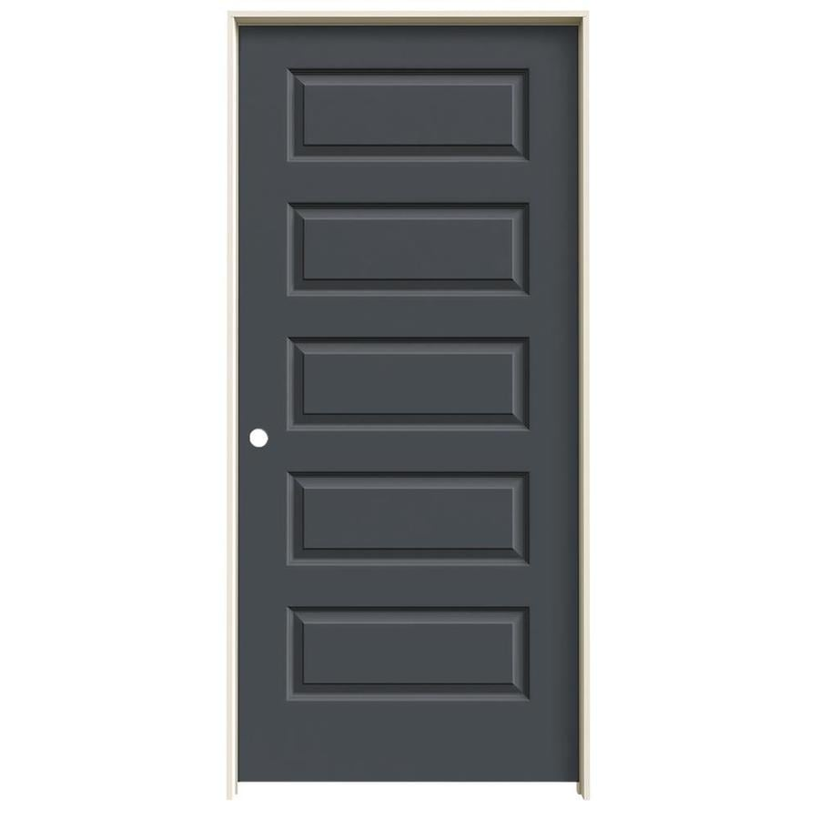 JELD-WEN Rockport Slate Prehung Solid Core 5-Panel Equal Interior Door (Common: 36-in x 80-in; Actual: 37.562-in x 81.688-in)