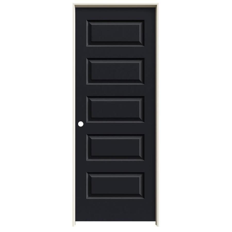 JELD-WEN Midnight Prehung Solid Core 5-Panel Equal Interior Door (Common: 28-in x 80-in; Actual: 29.562-in x 81.688-in)