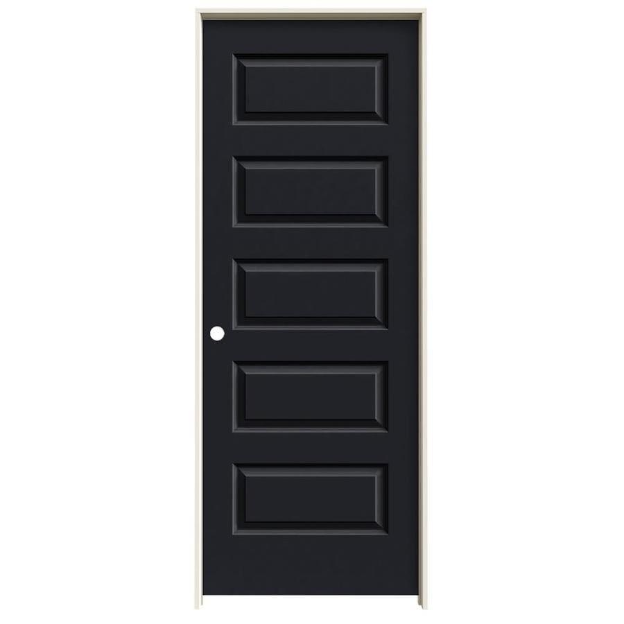 JELD-WEN Rockport Midnight 5-panel Equal Single Prehung Interior Door (Common: 30-in x 80-in; Actual: 31.562-in x 81.688-in)