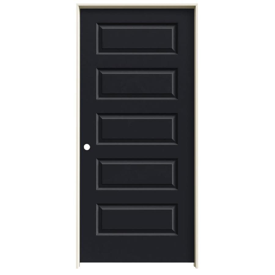 JELD-WEN Rockport Midnight Prehung Solid Core 5-Panel Equal Interior Door (Common: 36-in x 80-in; Actual: 37.562-in x 81.688-in)
