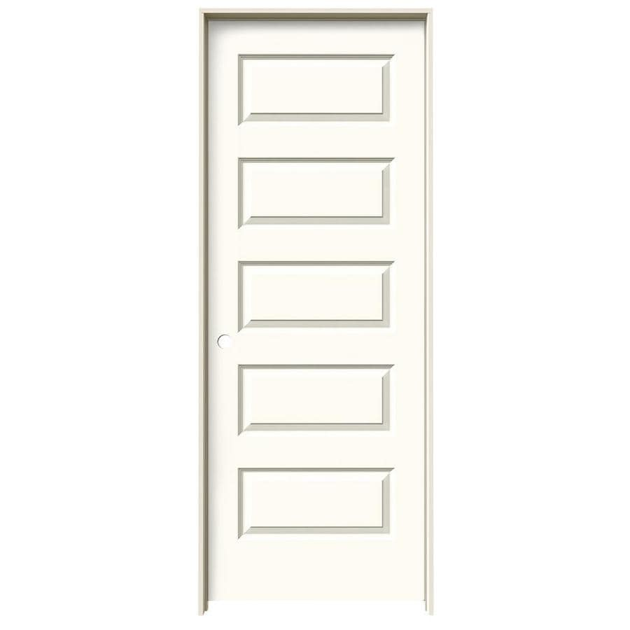 JELD-WEN Rockport White 5-panel Equal Single Prehung Interior Door (Common: 24-in x 80-in; Actual: 25.562-in x 81.688-in)