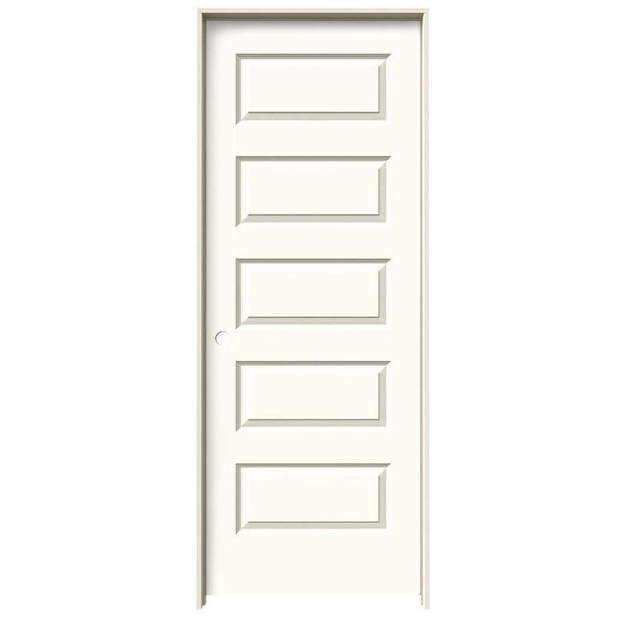 JELD-WEN Rockport White 5-panel Equal Single Prehung Interior Door (Common: 28-in x 80-in; Actual: 29.562-in x 81.688-in)