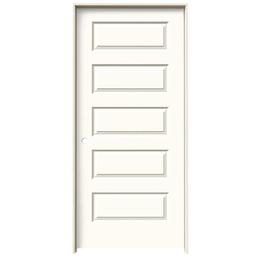 JELD-WEN Rockport White 5-panel Equal Single Prehung Interior Door (Common: 36-in x 80-in; Actual: 37.562-in x 81.688-in)