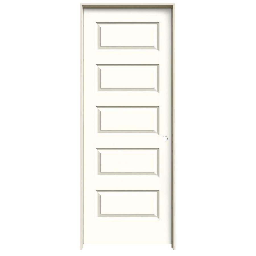 JELD-WEN Rockport Moonglow Prehung Hollow Core 5-Panel Equal Interior Door (Common: 30-in x 80-in; Actual: 31.562-in x 81.688-in)