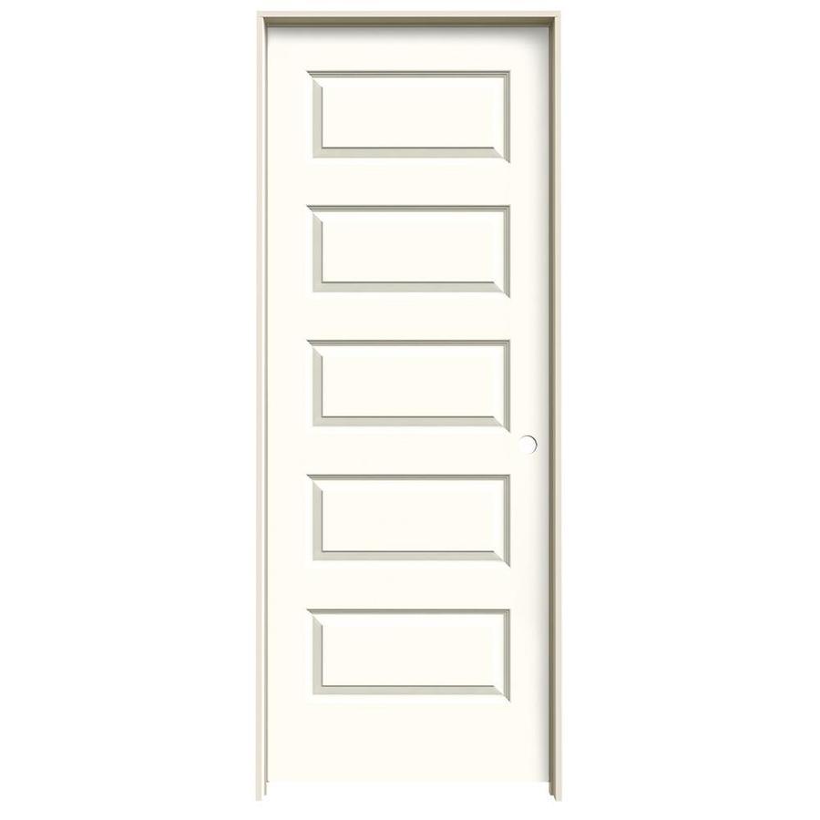 JELD-WEN Rockport Moonglow 5-panel Equal Single Prehung Interior Door (Common: 32-in x 80-in; Actual: 33.562-in x 81.688-in)
