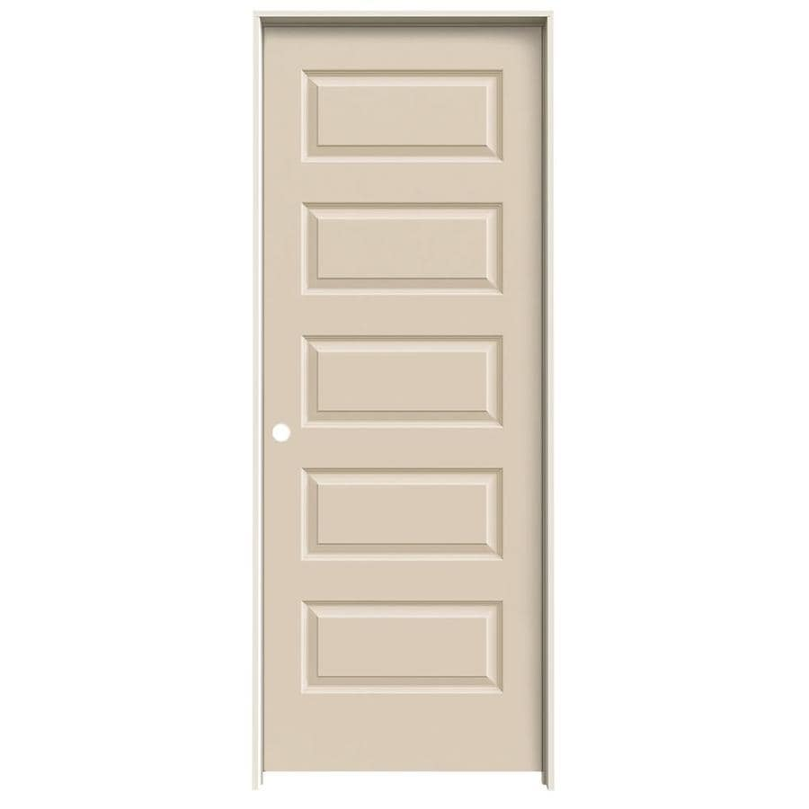 JELD-WEN Rockport Cream-n-sugar 5-panel Equal Single Prehung Interior Door (Common: 28-in x 80-in; Actual: 29.562-in x 81.688-in)