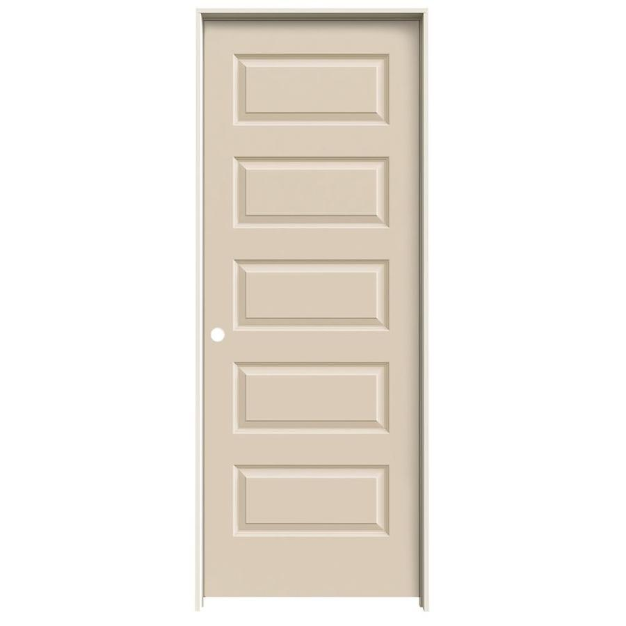 JELD-WEN Rockport Cream-n-sugar 5-panel Equal Single Prehung Interior Door (Common: 30-in x 80-in; Actual: 31.562-in x 81.688-in)
