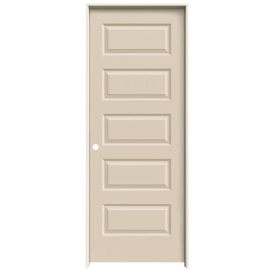 JELD-WEN Cream-N-Sugar Prehung Hollow Core 5-Panel Equal Interior Door (Common: 32-in x 80-in; Actual: 33.562-in x 81.688-in)