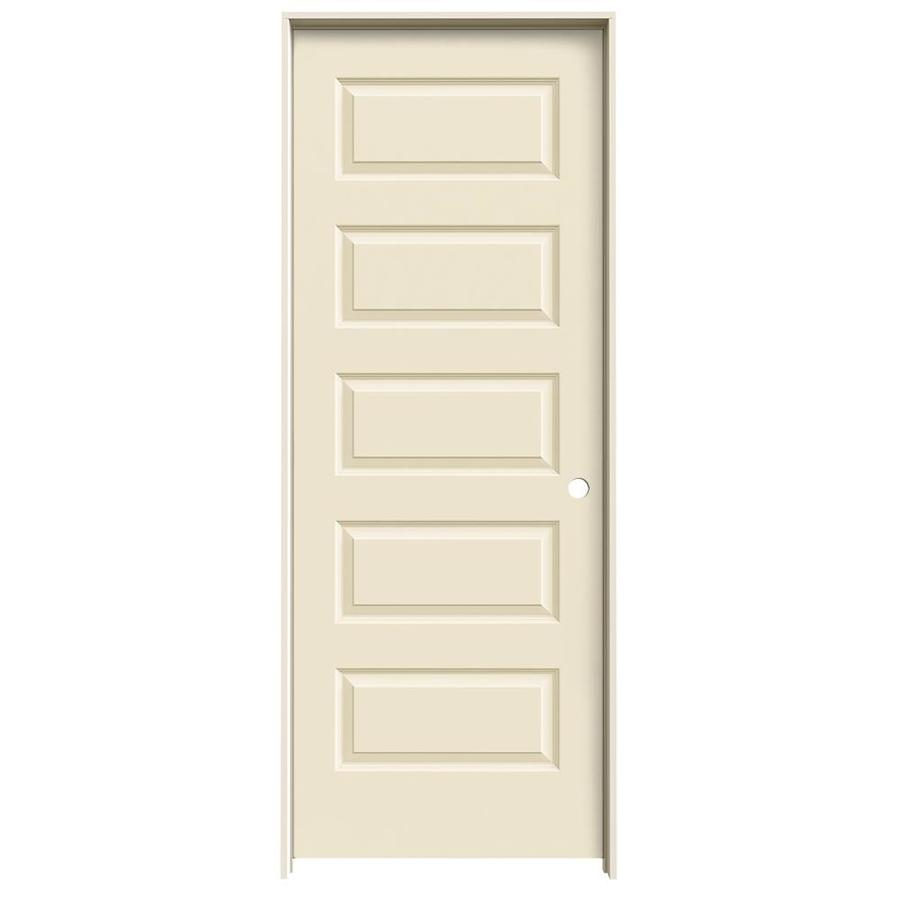 JELD-WEN Rockport Cream-N-Sugar Prehung Hollow Core 5-Panel Equal Interior Door (Common: 32-in x 80-in; Actual: 33.562-in x 81.688-in)