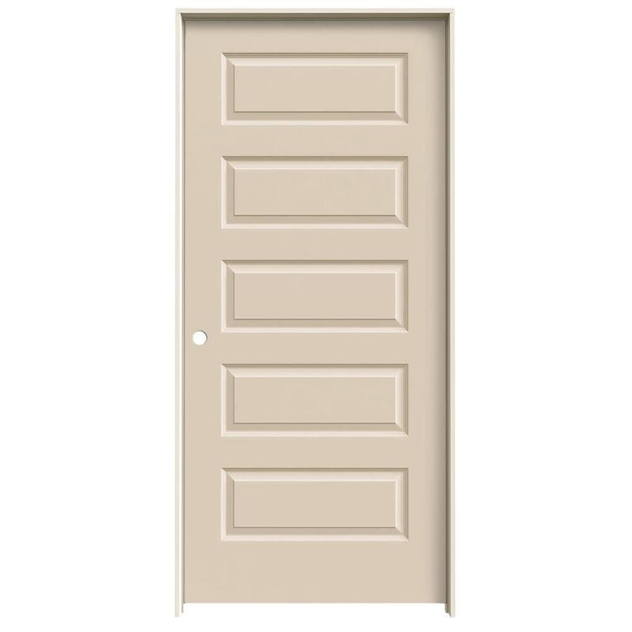 JELD-WEN Cream-N-Sugar Prehung Hollow Core 5-Panel Equal Interior Door (Common: 36-in x 80-in; Actual: 37.562-in x 81.688-in)