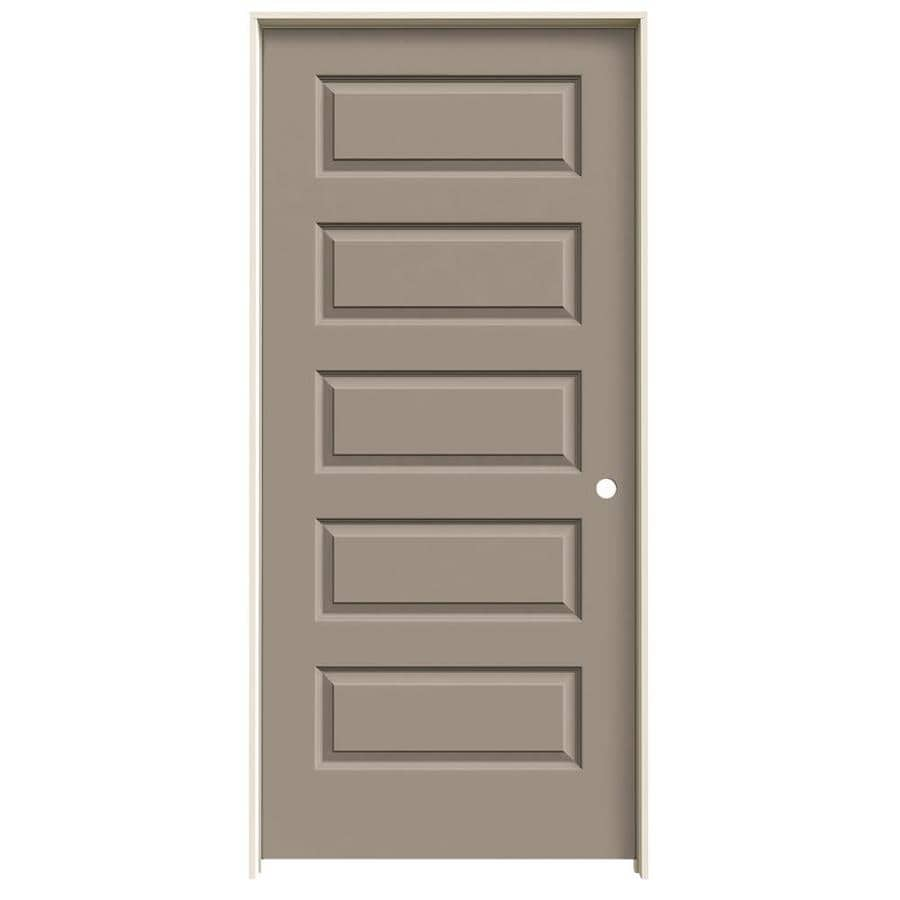 JELD-WEN Sand Piper Prehung Hollow Core 5-Panel Equal Interior Door (Common: 36-in x 80-in; Actual: 37.562-in x 81.688-in)