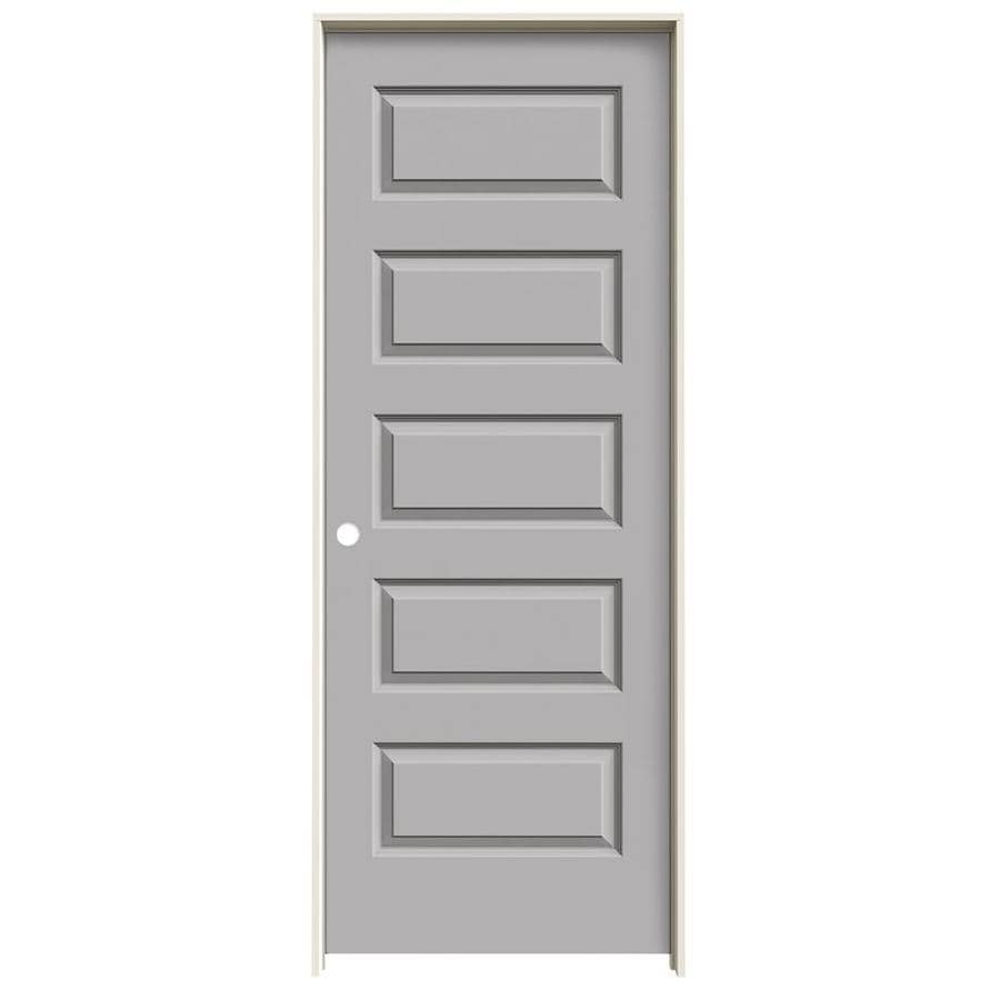 JELD-WEN Driftwood Prehung Hollow Core 5-Panel Equal Interior Door (Common: 32-in x 80-in; Actual: 33.562-in x 81.688-in)