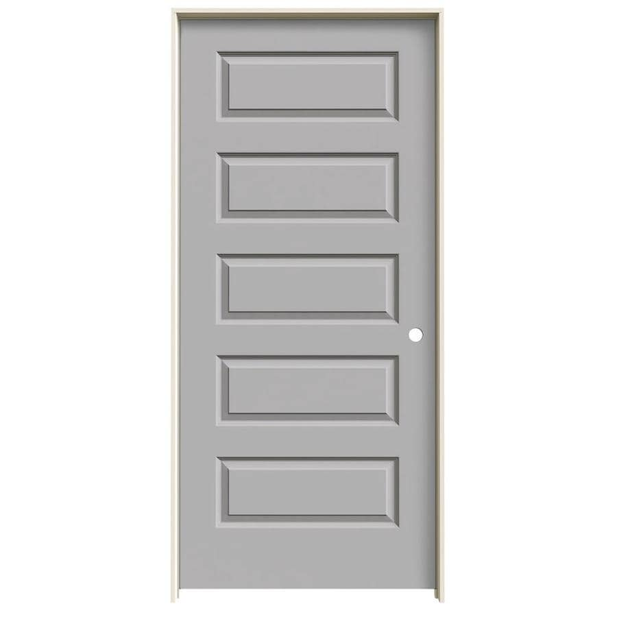 JELD-WEN Rockport Driftwood Prehung Hollow Core 5-Panel Equal Interior Door (Common: 36-in x 80-in; Actual: 37.562-in x 81.688-in)
