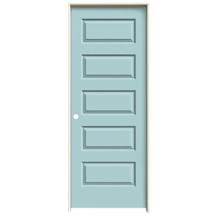 JELD-WEN Sea Mist Prehung Hollow Core 5-Panel Equal Interior Door (Common: 32-in x 80-in; Actual: 33.562-in x 81.688-in)
