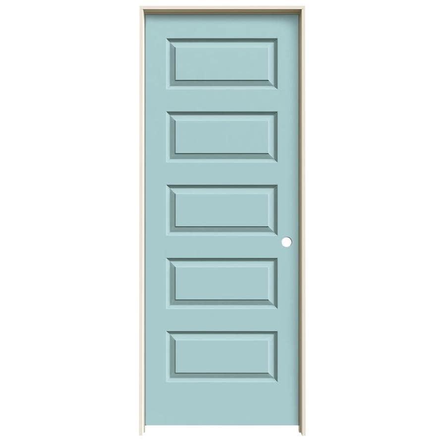 JELD-WEN Rockport Sea Mist Prehung Hollow Core 5-Panel Equal Interior Door (Common: 32-in x 80-in; Actual: 33.562-in x 81.688-in)