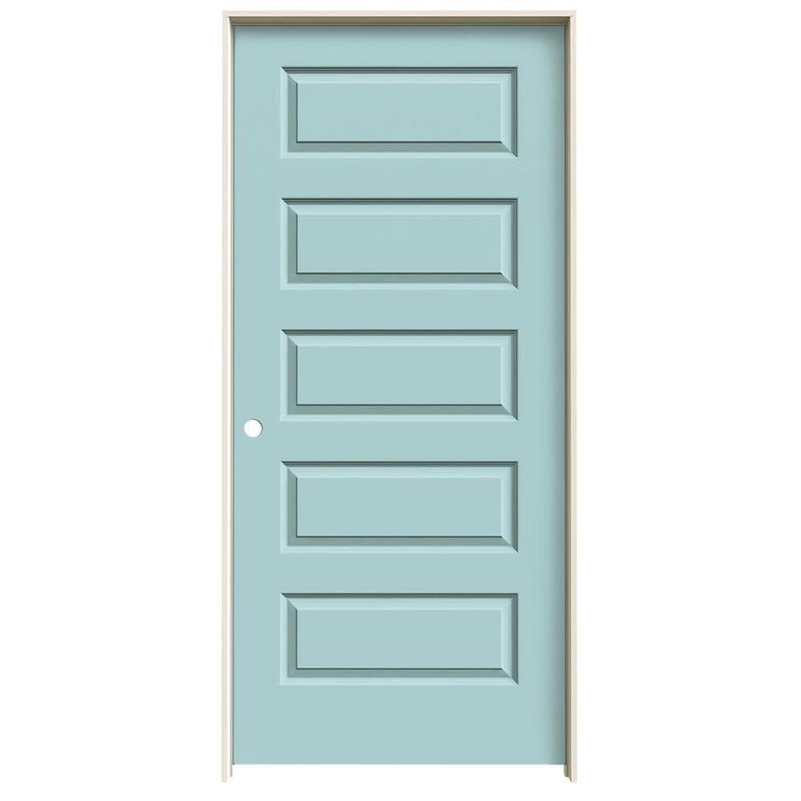 JELD-WEN Rockport Sea Mist Prehung Hollow Core 5-Panel Equal Interior Door (Common: 36-in x 80-in; Actual: 37.562-in x 81.688-in)