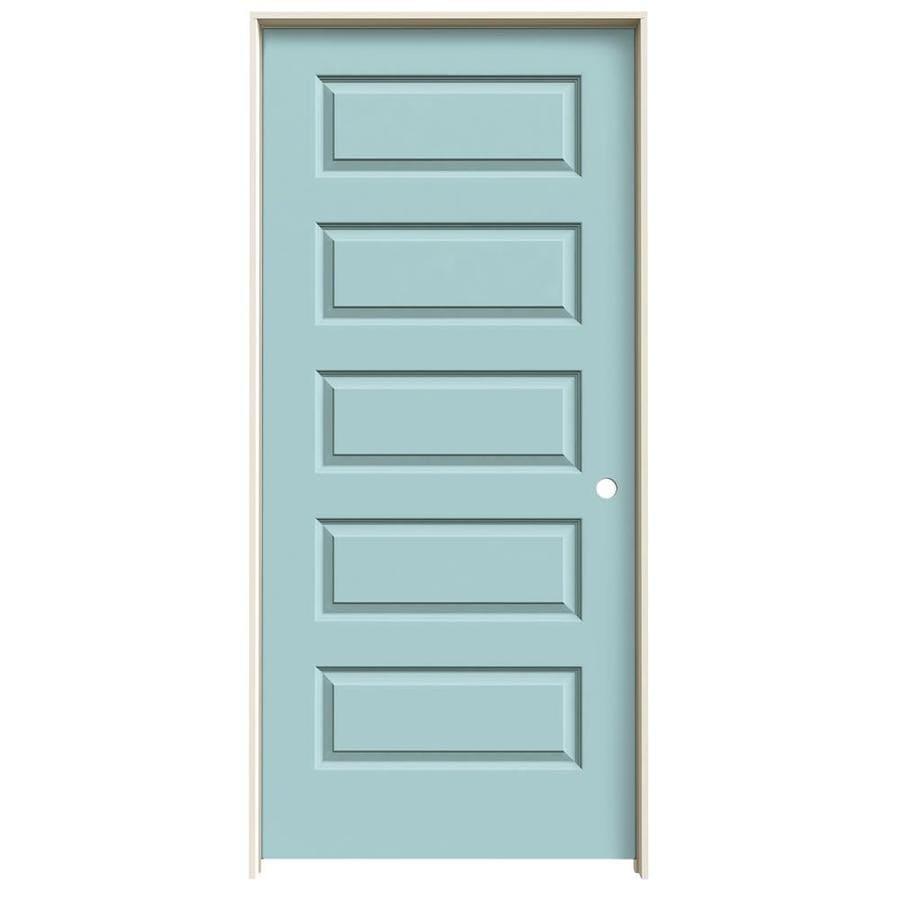 JELD-WEN Rockport Sea Mist 5-panel Equal Single Prehung Interior Door (Common: 36-in x 80-in; Actual: 37.5620-in x 81.6880-in)