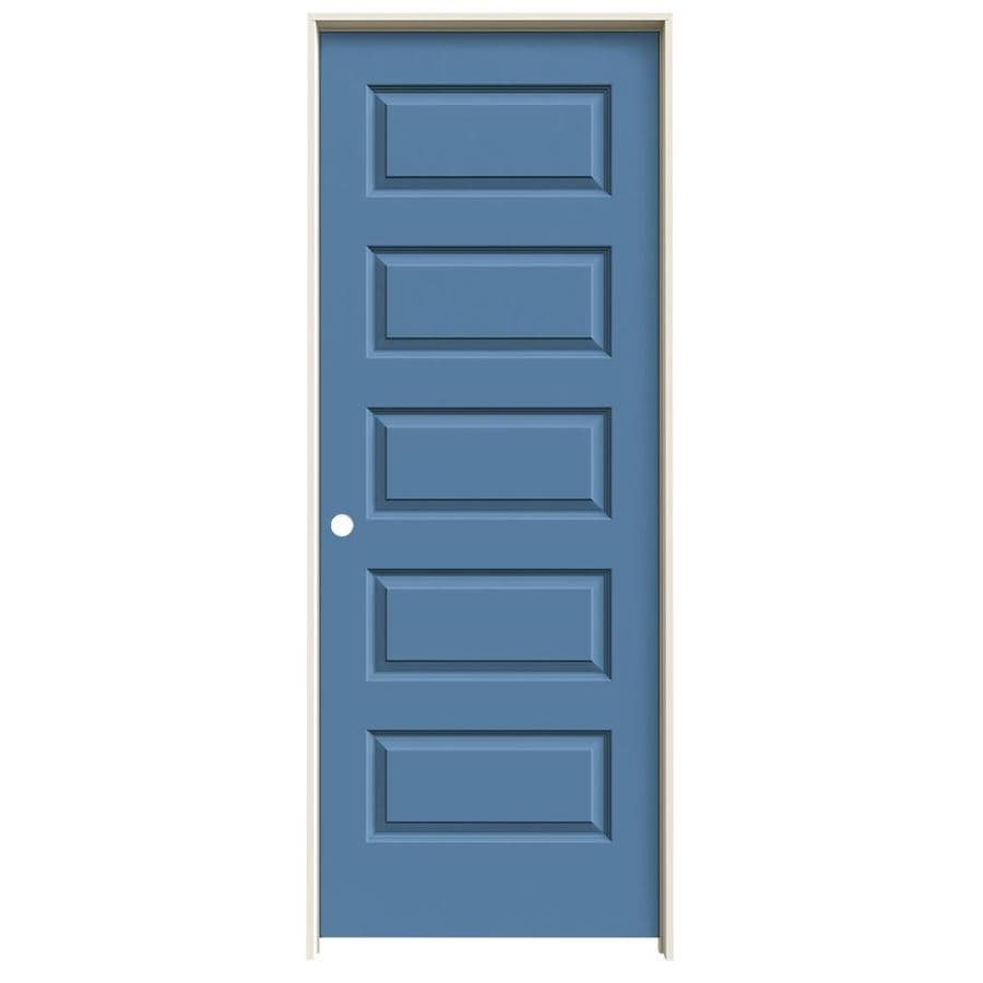 JELD-WEN Rockport Blue Heron 5-panel Equal Single Prehung Interior Door (Common: 28-in x 80-in; Actual: 29.562-in x 81.688-in)