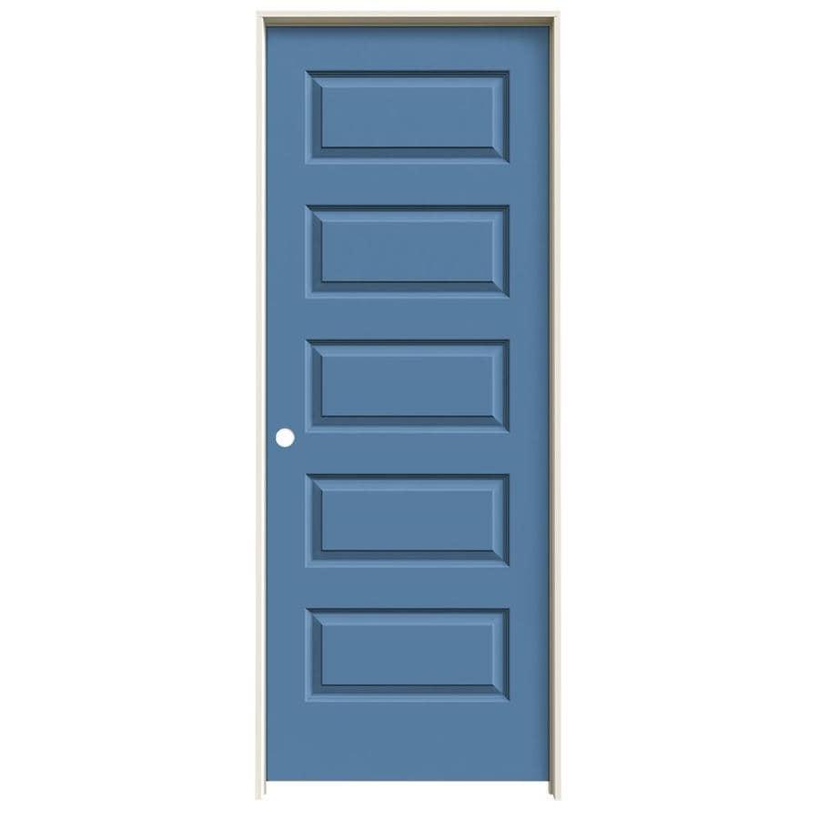JELD-WEN Rockport Blue Heron Prehung Hollow Core 5-Panel Equal Interior Door (Common: 32-in x 80-in; Actual: 33.562-in x 81.688-in)