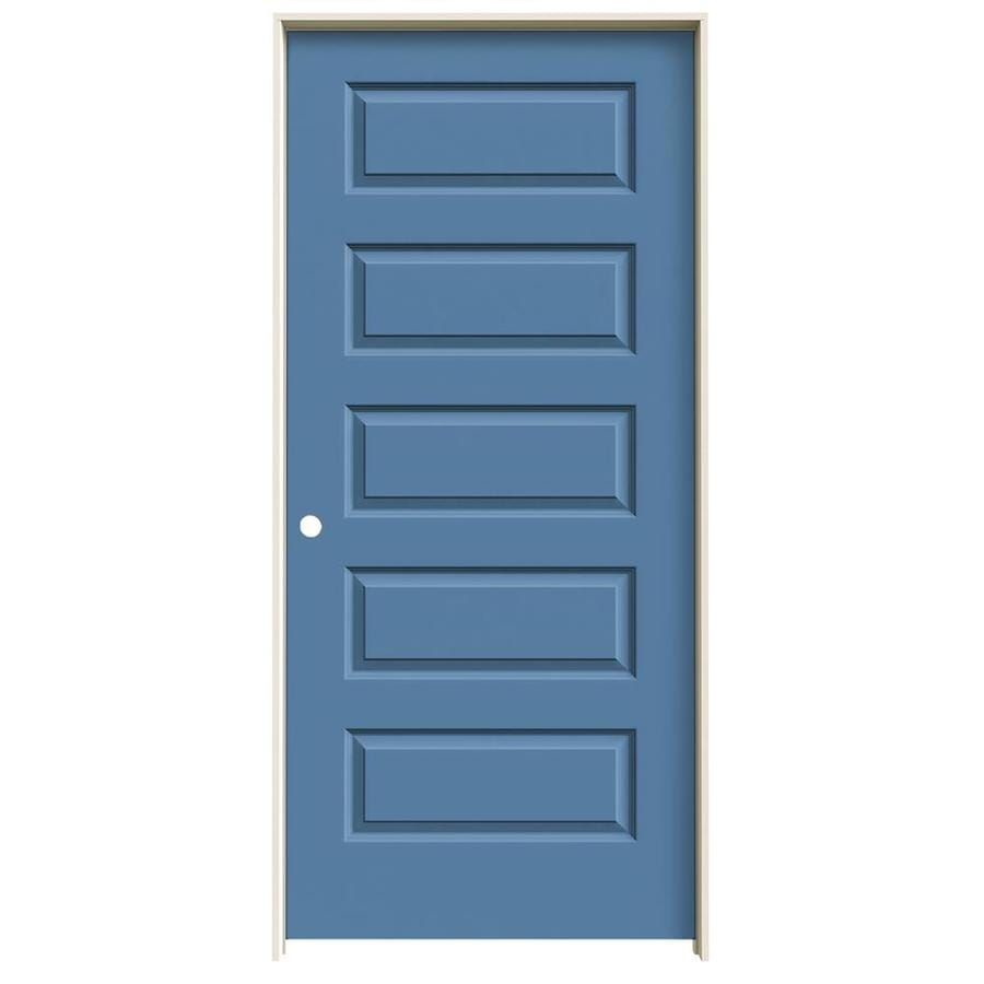 JELD-WEN Rockport Blue Heron 5-panel Equal Single Prehung Interior Door (Common: 36-in x 80-in; Actual: 37.562-in x 81.688-in)
