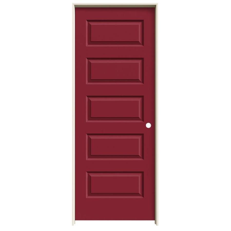 JELD-WEN Rockport Barn Red 5-panel Equal Single Prehung Interior Door (Common: 24-in x 80-in; Actual: 25.562-in x 81.688-in)