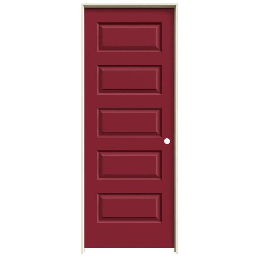 JELD-WEN Rockport Barn Red 5-panel Equal Single Prehung Interior Door (Common: 28-in x 80-in; Actual: 29.562-in x 81.688-in)
