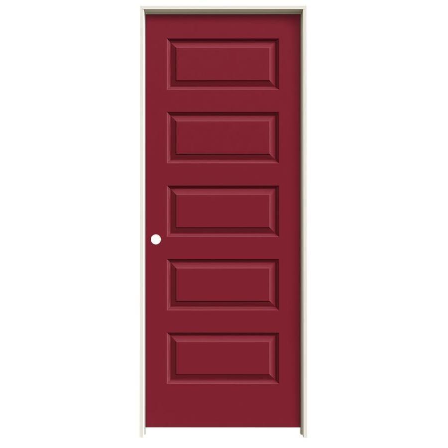 JELD-WEN Rockport Barn Red 5-panel Equal Single Prehung Interior Door (Common: 30-in x 80-in; Actual: 31.562-in x 81.688-in)