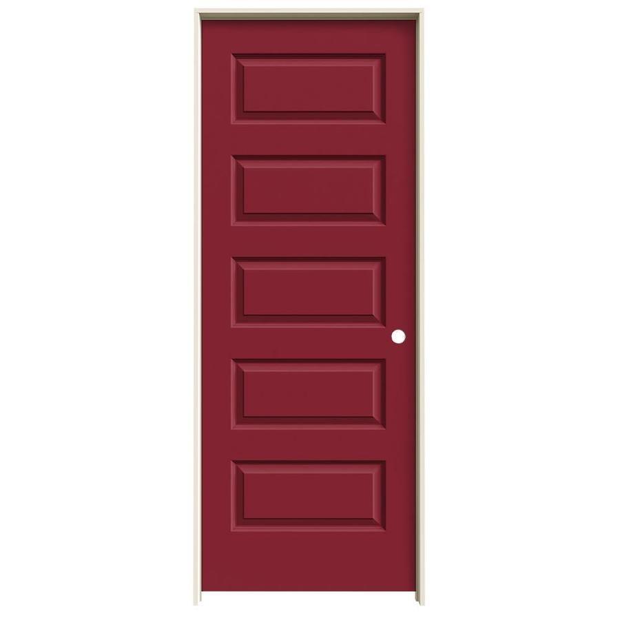 JELD-WEN Barn Red Prehung Hollow Core 5-Panel Equal Interior Door (Common: 30-in x 80-in; Actual: 31.562-in x 81.688-in)
