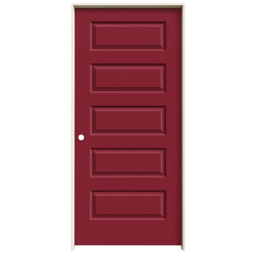 JELD-WEN Rockport Barn Red 5-panel Equal Single Prehung Interior Door (Common: 36-in x 80-in; Actual: 37.562-in x 81.688-in)