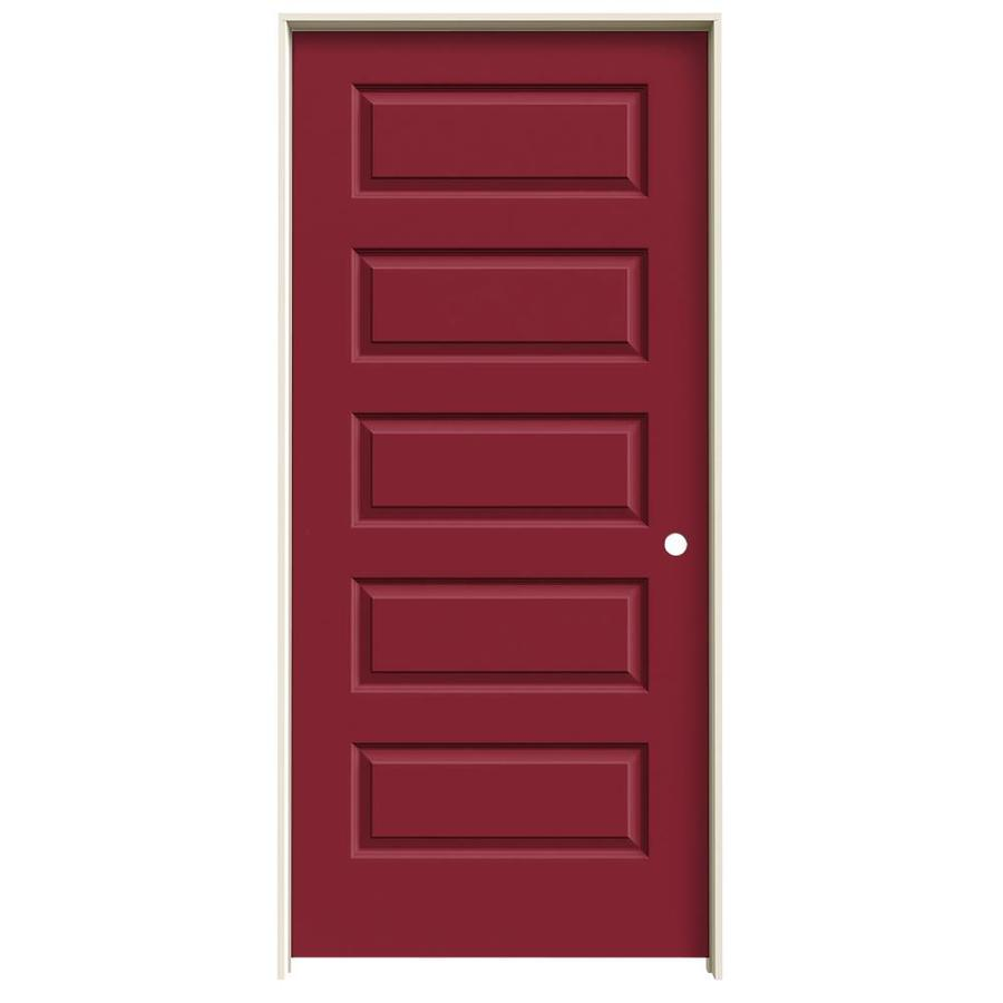 JELD-WEN Rockport Barn Red Prehung Hollow Core 5-Panel Equal Interior Door (Common: 36-in x 80-in; Actual: 37.562-in x 81.688-in)