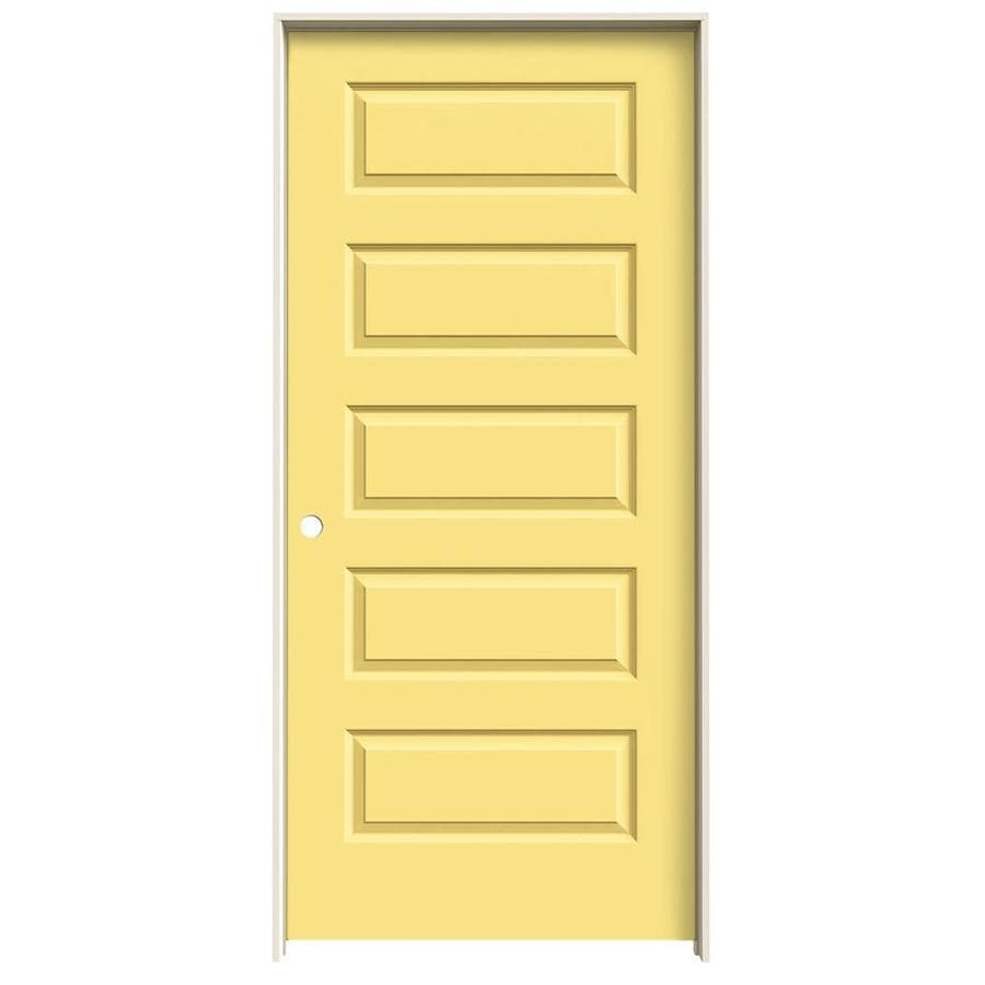 JELD-WEN Rockport Marigold Prehung Hollow Core 5-Panel Equal Interior Door (Common: 36-in x 80-in; Actual: 37.562-in x 81.688-in)