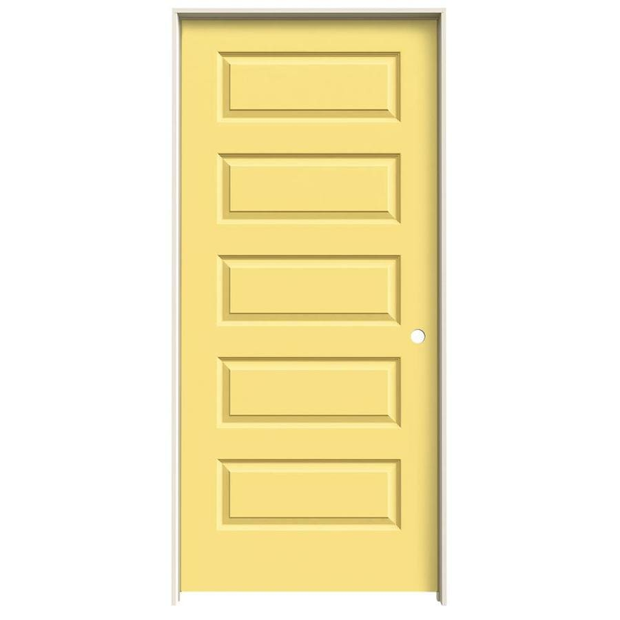 JELD-WEN Marigold Prehung Hollow Core 5-Panel Equal Interior Door (Common: 36-in x 80-in; Actual: 37.562-in x 81.688-in)