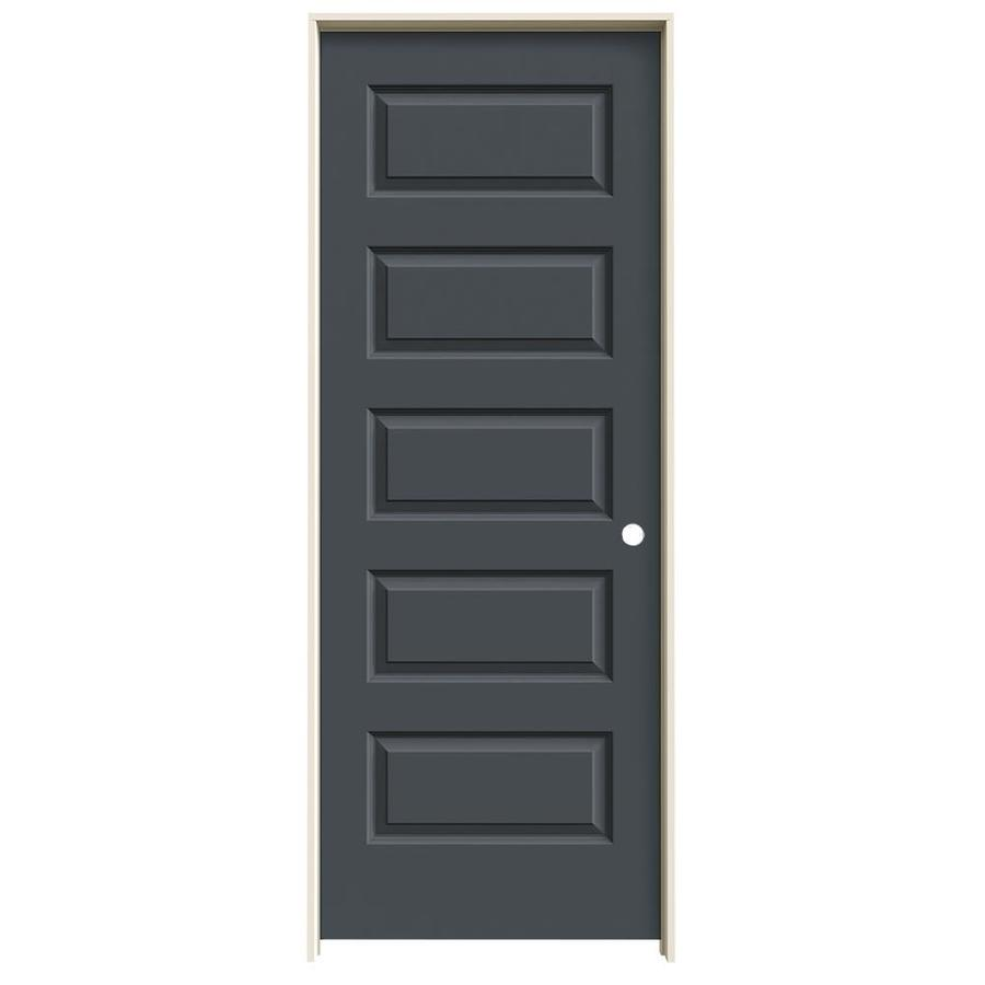 JELD-WEN Rockport Slate 5-panel Equal Single Prehung Interior Door (Common: 28-in x 80-in; Actual: 29.562-in x 81.688-in)