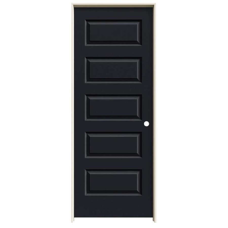 JELD-WEN Rockport Midnight 5-panel Equal Single Prehung Interior Door (Common: 24-in x 80-in; Actual: 25.5620-in x 81.6880-in)