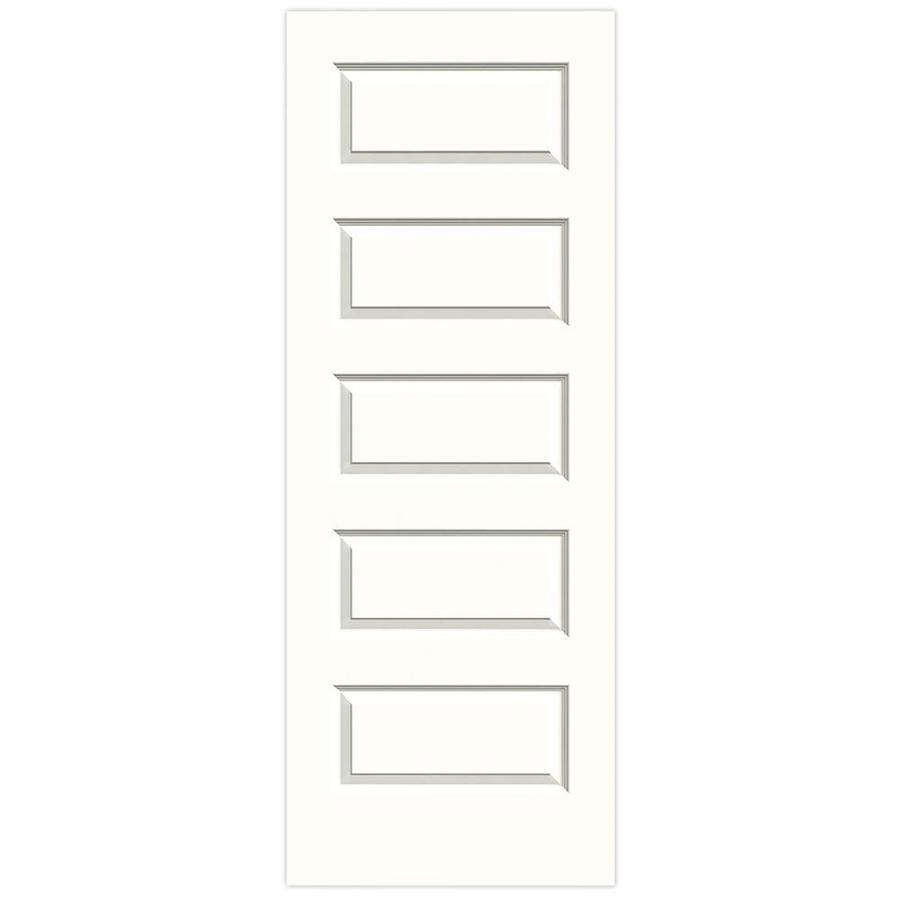 JELD-WEN Snow Storm Solid Core 5-Panel Equal Slab Interior Door (Common: 30-in x 80-in; Actual: 30-in x 80-in)